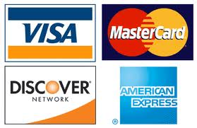 We gladly accept Visa, MasterCard, Discover and Amex as payment.